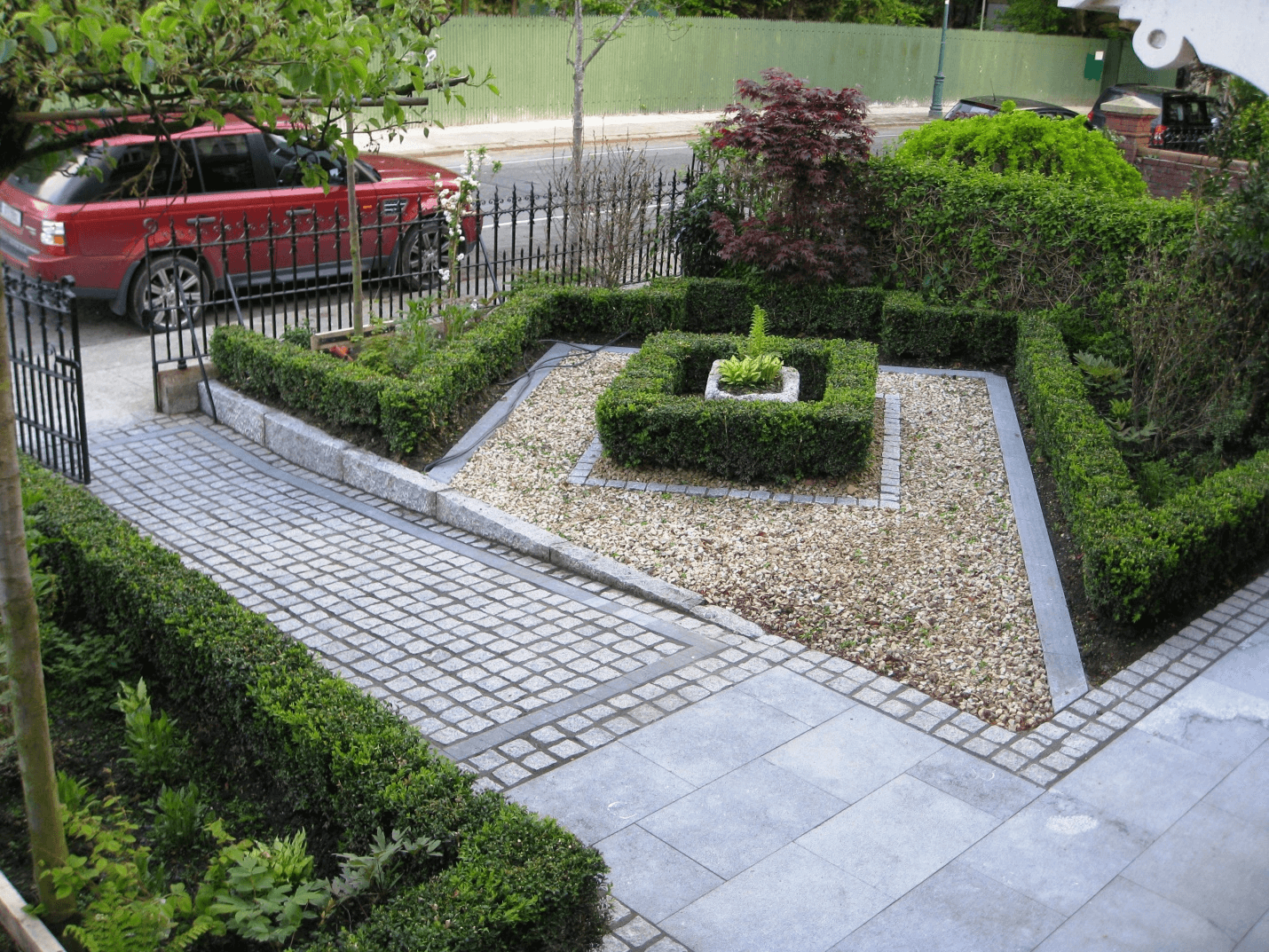 Tree and Hedge Design around walkway