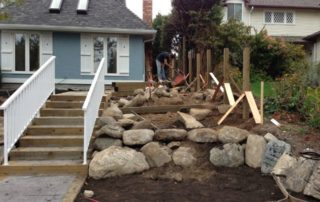 Dry Stack Retaining Wall New Lawn Various Plant Installation Before
